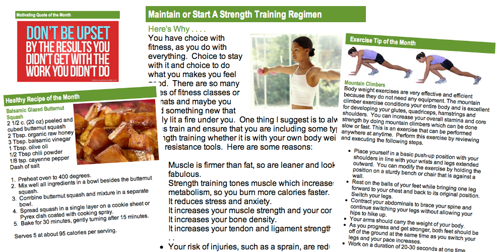 Simply Fitness Newsletter for Healthy tips